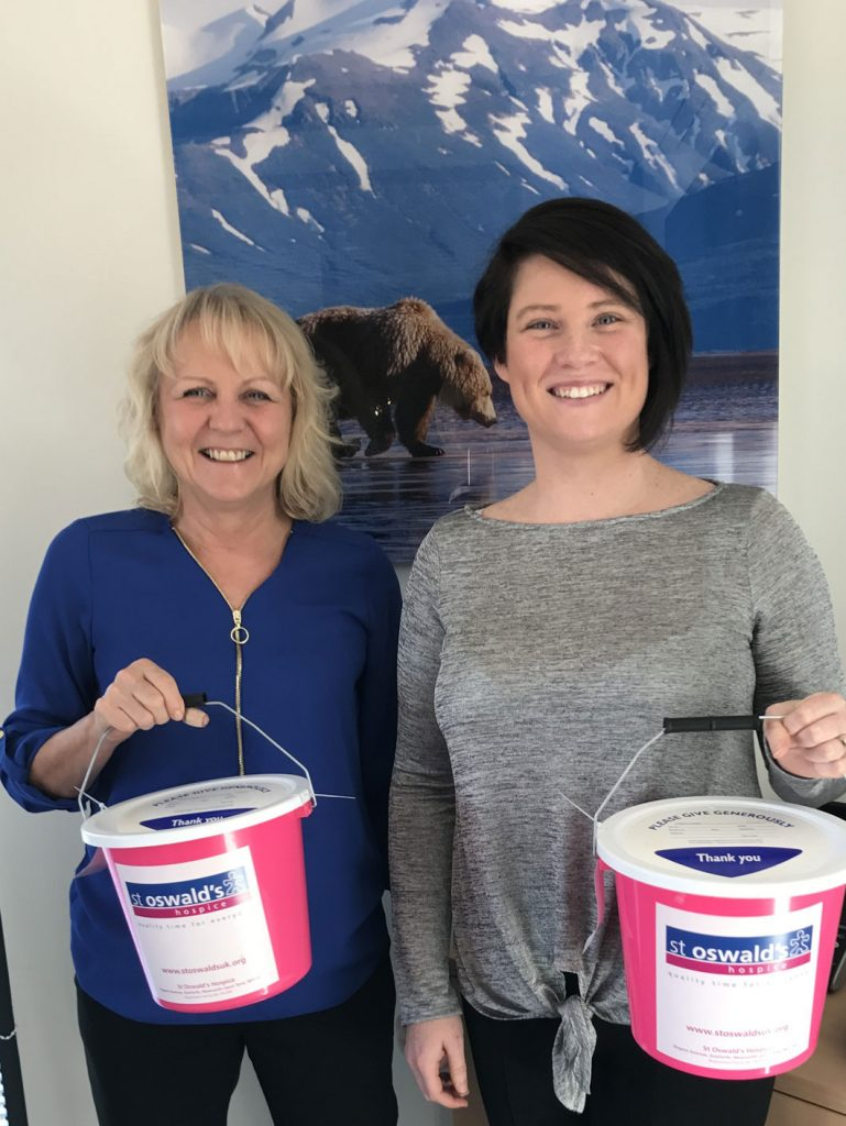 from left: Wendy Edgell and Lianne Davison at the head office of Northern Bear plc collecting for St Oswald's Hospice